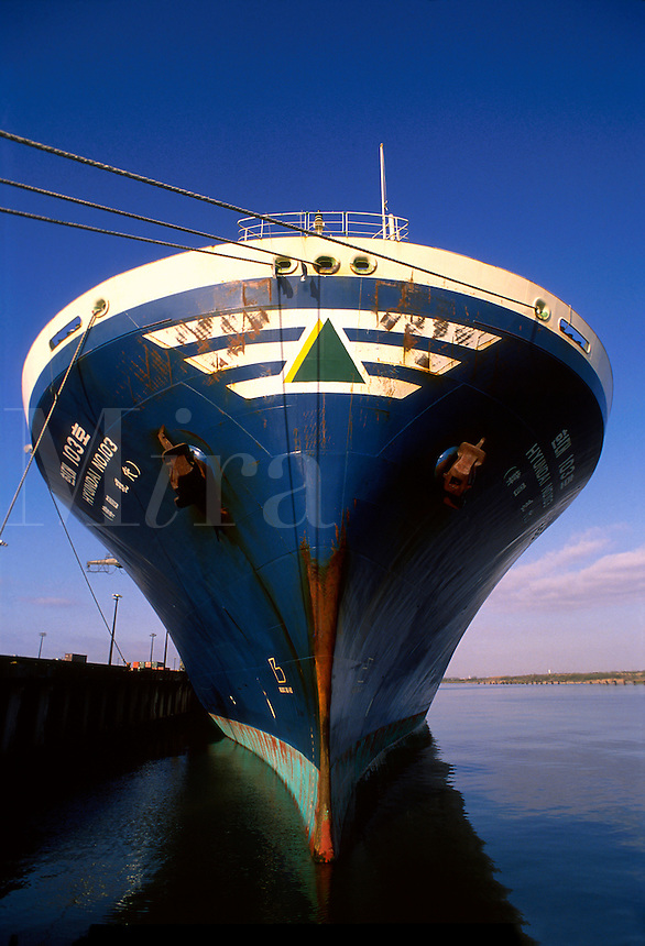 The bow of a Korean Hyundai RoRo (Roll on Roll off) ship used for shipping cars.