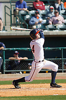 University of Virginia Cavaliers infielder Ernie Clement (4) at bat during a game against the Liberty University Flames at Joseph P. Riley Ballpark on February 17, 2017 in Charleston, South Carolina. Virginia defeated Liberty 10-2. (Robert Gurganus/Four Seam Images)