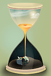 Illustrative image of businessman in hourglass representing workaholic