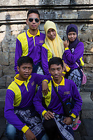 Borobudur, Java, Indonesia.  Indonesian Students from Lampung Visiting the Temple.