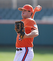 Joe Costigan (5) of the Clemson Tigers in a game against the University of Alabama-Birmingham on Feb. 17, 2012, at Doug Kingsmore Stadium in Clemson, South Carolina. UAB won 2-1. (Tom Priddy/Four Seam Images)