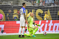 Houston, TX - Tuesday June 21, 2016: Geoff Cameron, Brad Guzan during a Copa America Centenario semifinal match between United States (USA) and Argentina (ARG) at NRG Stadium.