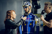 Tom Boonen (BEL/Quick-Step Floors) interviewed on the start podium<br /> <br /> 101th Ronde Van Vlaanderen 2017 (1.UWT)<br /> 1day race: Antwerp › Oudenaarde - BEL (260km)
