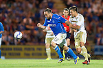 St Johnstone v FC Luzern...24.07.14  Europa League 2nd Round Qualifier<br /> Lee Croft is held by Alain Wiss<br /> Picture by Graeme Hart.<br /> Copyright Perthshire Picture Agency<br /> Tel: 01738 623350  Mobile: 07990 594431