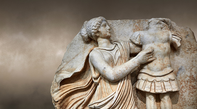 Close up of a Roman Sebasteion relief  sculpture of a Goddess inscribing a trophy, Aphrodisias Museum, Aphrodisias, Turkey.  Against an art background.<br /> <br /> A draped goddess strides forward to inscribe a military trophy to which is bound a kneeling female captive. The goddess is probably a personification such as Honour, Virtue or Courage.