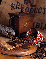 Coffee beans and grinde
