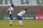 08.11.2020, Dietmar-Scholze-Stadion an der Lohmuehle, Luebeck, GER, 3. Liga, VfB Luebeck vs KFC Uerdingen 05 <br /> <br /> im Bild / picture shows <br /> Schlusspfiff, 1:0 Heimsieg fuer den VfB Lübeck/Luebeck, Assani Lukimya (KFC Uerdingen 05) und Muhammed Kiprit (KFC Uerdingen 05) sind enttäuscht/enttaeuscht <br /> <br /> DFB REGULATIONS PROHIBIT ANY USE OF PHOTOGRAPHS AS IMAGE SEQUENCES AND/OR QUASI-VIDEO.<br /> <br /> Foto © nordphoto / Tauchnitz