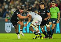 8th October 2021;  Swansea.com Stadium, Swansea, Wales; United Rugby Championship, Ospreys versus Sharks; Gareth Thomas of Ospreys fends off Hyron Andrews of Cell C Sharks