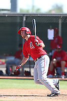 C.J. Cron #84 of the Los Angeles Angels bats during a Minor League Spring Training Game against the Oakland Athletics at the Los Angeles Angels Spring Training Complex on March 17, 2014 in Tempe, Arizona. (Larry Goren/Four Seam Images)
