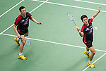 Yong Dae Lee and Yeon Seong Yoo of Korea competes during the Semi Final of the Yonex Open Chinese Taipei 2015 at the Taipei Arena on 18 July 2015 in Taipei, Taiwan. Photo by Aitor Alcalde / Power Sport Images