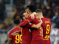 Football, Serie A: AS Roma - Brescia FC, Olympic stadium, Rome, November 24, 2019. <br /> Roma's Chris Smalling (r) celebrates after scoring with his teammate Alessandro Florenzi (l) during the Italian Serie A football match between Roma and Brescia at Olympic stadium in Rome, on November 24, 2019. <br /> UPDATE IMAGES PRESS/Isabella Bonotto