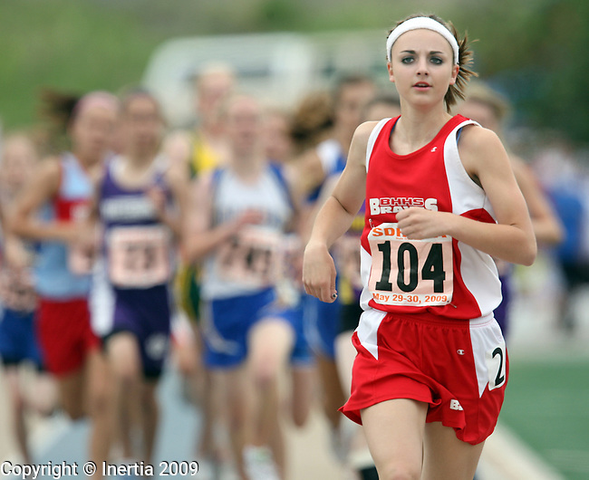 RAPID CITY, SD - MAY 30:  Kelsey Barrett of Britton Hecla puts some distance between herself and the pack in the girls Class A 1600 meter finals during the 2009 South Dakota State Track Meet Saturday in Rapid City. (Photo by Dave Eggen/Inertia)
