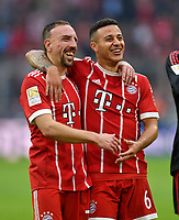 10.03.2018,  Football 1.Liga 2017/2018, 26. match day,  FC Bayern Muenchen - Hamburger SV, in Allianz Arena Muenchen.  Franck Ribery (FC Bayern Muenchen) and Thiago (FC Bayern Muenchen) celebration - *** Local Caption *** © pixathlon<br /> <br /> +++ NED out !!! +++<br /> Contact: +49-40-22 63 02 60 , info@pixathlon.de