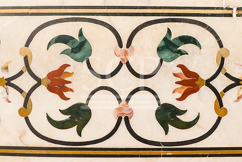 Agra, Uttar Pradesh, India. The Taj Mahal; detail of floral inlay frieze of semiprecious stones.