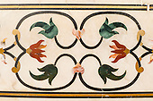 Agra, Uttar Pradesh, India. The Taj Mahal; detail of floral inlay frieze of semiprecious stones.