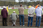 Vauxhall Motors FC 0 Solihull Moors 2, 26/04/2014. Rivacre Park, Conference North. Spectators watching the second-half action during Vauxhall Motors (in white) play Solihull Moors at Rivacre Park in the final Conference North fixture of the season. It was to be the last match for the Ellesmere Port-based home club, named after the giant car factory in the town, who have resigned from the professional pyramid system to return to local amateur football due to spiralling costs and low attendances. Their final match resulted in a 2-0 home defeat, watched by a crowd of only 215. Photo by Colin McPherson.