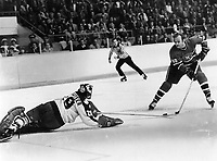 1978<br />  FILE PHOTO - ARCHIVES -<br /> <br /> Mike Palmateer makes sensational diving poke check to thwart Guy Lafleur on second-period breakaway<br /> <br /> PHOTO : Dick Darrell  - Toronto Star Archives - AQP