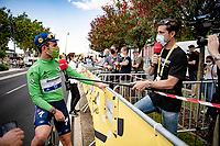 Green Jersey / points leader Mark Cavendish (GBR/Deceuninck - Quick Step) interviewed at the finish in Nîmes  by his good friend and former teammate  (now Eurosport commentator) Bernie Eisel<br /> <br /> Stage 12 from Saint-Paul-Trois-Châteaux to Nîmes (159km)<br /> 108th Tour de France 2021 (2.UWT)<br /> <br /> ©kramon