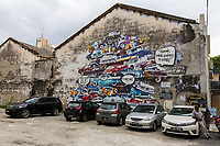 Ipoh, Malaysia.  Parking Lot and Wall Decoration.