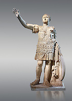 Statue of the Emperor Titus - an end of the 1st century AD Roman statue probably from Rome. Titus was Emperor of the Romans fom 79 to 81 AD. The statue looks like it may have recieved some restoration especially around the eyes and the style of changes points to the sculptor Girardon in 1685. From the French Royal Collection  Inv MR 358   (or Ma 1067), The Louvre Mueum, Paris.