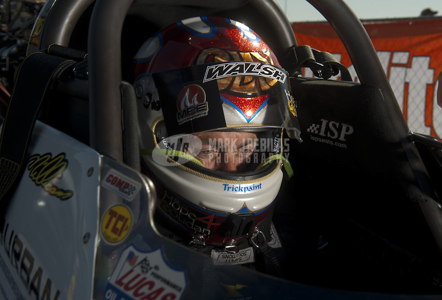 Mar. 12, 2011; Gainesville, FL, USA; NHRA top fuel dragster driver Clay Millican during qualifying for the Gatornationals at Gainesville Raceway. Mandatory Credit: Mark J. Rebilas-.