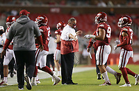 Arkansas head coach Sam Pittman fives his team, Saturday, November 7, 2020 during the second quarter of a football game at Donald W. Reynolds Razorback Stadium in Fayetteville. Check out nwaonline.com/201108Daily/ for today's photo gallery. <br /> (NWA Democrat-Gazette/Charlie Kaijo)