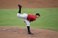 Kannapolis Intimidators starting pitcher Dylan Cease (2) follows through on his delivery against the Columbia Fireflies at Kannapolis Intimidators Stadium on July 23, 2017 in Kannapolis, North Carolina.  The Fireflies defeated the Intimidators 3-1.  (Brian Westerholt/Four Seam Images)