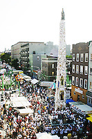 """The """"Giglio"""" looms large at the annual Feast of Our Lady of Mount Carmel and the Dancing of the Giglio in Brooklyn, NY, on July 11, 2004."""