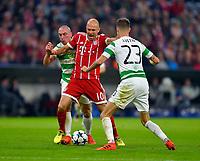 18.10.2017, Football UEFA Champions League 2017/2018,  , 3. match day, FC Bayern Muenchen - Celtic Glasgow, in Allianz-Arena Muenchen,  Scott Brown  (Celtic Glasgow), Arjen Robben (FC Bayern Muenchen) and Mikael Lustig  (Celtic Glasgow) . *** Local Caption *** © pixathlon<br /> <br /> +++ NED + SUI out !!! +++<br /> Contact: +49-40-22 63 02 60 , info@pixathlon.de
