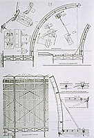 Crystal Palace--working drawings. It was a cast-iron and plate-glass structure originally built in Hyde Park, London, to house the Great Exhibition of 1851. Designed by Joseph Paxton.