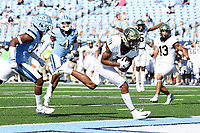 CHAPEL HILL, NC - NOVEMBER 14: Donavon Greene #7 of Wake Forest catches a 17 yard touchdown pass during a game between Wake Forest and North Carolina at Kenan Memorial Stadium on November 14, 2020 in Chapel Hill, North Carolina.