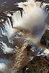 Iguassu Falls Aerial, Devils punchbowl, Waterfall, strong rushing water, rainbow over water