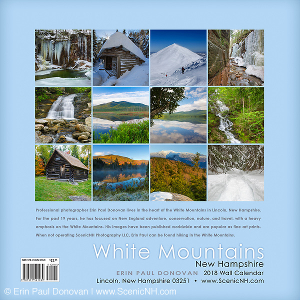 Back cover of the 2018 White Mountains, New Hampshire wall calendar by ScenicNH Photography LLC   Erin Paul Donovan. You can purchase a copy of the calendar here: http://bit.ly/2rND4Kf