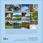 Back cover of the 2018 White Mountains, New Hampshire wall calendar by ScenicNH Photography LLC | Erin Paul Donovan. You can purchase a copy of the calendar here: http://bit.ly/2rND4Kf