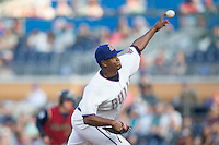 Durham Bulls starting pitcher Enny Romero (30) delivers a pitch to the plate against the Scranton/Wilkes-Barre RailRiders at Durham Bulls Athletic Park on May 15, 2015 in Durham, North Carolina.  The RailRiders defeated the Bulls 8-4 in 11 innings.  (Brian Westerholt/Four Seam Images)