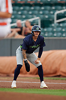 Vermont Lake Monsters Noah Vaughan (23) leads off first base during a NY-Penn League game against the Aberdeen IronBirds on August 19, 2019 at Leidos Field at Ripken Stadium in Aberdeen, Maryland.  Aberdeen defeated Vermont 6-2.  (Mike Janes/Four Seam Images)