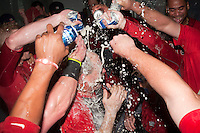 Pawtucket Red Sox manager Arnie Beyeler #22 is doused with beer as his team celebrates in the locker room after game four of a best of five playoff series against the Empire State Yankees at Frontier Field on September 8, 2012 in Rochester, New York.  Pawtucket defeated Empire State 7-1 to advance to the International League Finals.  (Mike Janes/Four Seam Images)