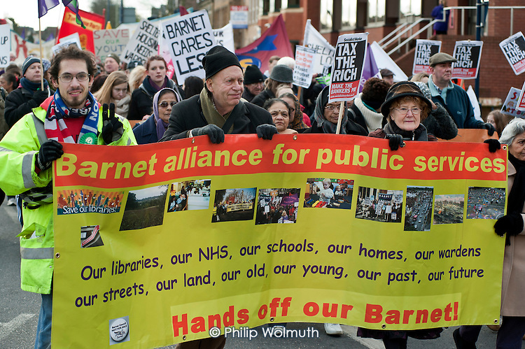 Barnet Alliance for Public Services march in Finchley, London,  to protest against cuts and privatisation of council services.