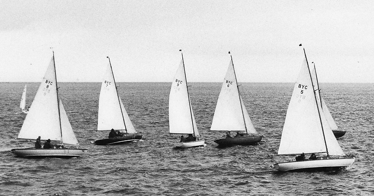 The Ballyholme Bay ODs shaping up for some club racing – the design origins as the Coronation OD by Colhoun & Co were submerged in local pride. Photo: W M Nixon