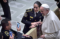 Pope Francis during weekly general audience  in the Paul VI Hall at the Vatican   21, December.2016.