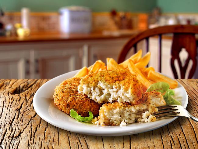 British Food - Breaded Fish Cake & Chips