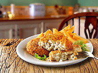 British Food - Breaded Fish Cake & Chips