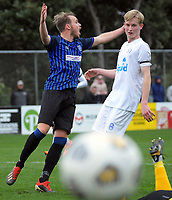 Miramar's Taylor Schrijvers protests during the Central League football match between Miramar Rangers and Wellington Olympic AFC at David Farrington Park in Wellington, New Zealand on Saturday, 29 May 2021. Photo: Dave Lintott / lintottphoto.co.nz