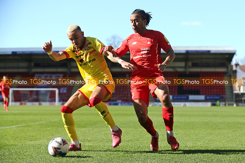 Tyreik Wright of Walsall and Joe Widdowson of Leyton Orient during Leyton Orient vs Walsall, Sky Bet EFL League 2 Football at The Breyer Group Stadium on 5th April 2021