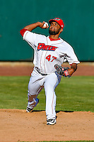 Orem Owlz starting pitcher Ramon Rodriguez (47) warms up in the bullpen before the game against the Ogden Raptors in Pioneer League action at Home of the Owlz on June 25, 2016 in Orem, Utah. Orem defeated Ogden 4-1.  (Stephen Smith/Four Seam Images)