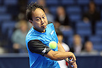 USA's Michael Chang eyes on the ball at the HSBC Tennis Cup series at First Niagara Center in Buffalo, NY on October 22, 2011