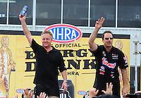 Apr. 29, 2012; Baytown, TX, USA: NHRA pro stock driver Kurt Johnson (left) with Greg Anderson during the Spring Nationals at Royal Purple Raceway. Mandatory Credit: Mark J. Rebilas-