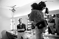 Montreal (qc) CANADA - file Photo - 1991 - <br /> <br /> <br />  - Festival Juste Pour Rire 1991 - Daniel Lemire getting interviewed backstage (exclusive photo)