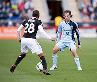Graham Zusi, Raymon Gaddis.  Sporting Kansas City defeated Philadelphia Union, 3-1. at PPL Park in Chester, PA.