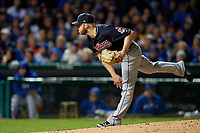 Cleveland Indians pitcher Cody Allen (37) follows through on a pitch in the seventh inning during Game 5 of the Major League Baseball World Series against the Chicago Cubs on October 30, 2016 at Wrigley Field in Chicago, Illinois.  (Mike Janes/Four Seam Images)